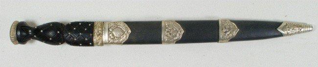 110M: Vintage Scottish Dirk dagger, Damascus blade, UK