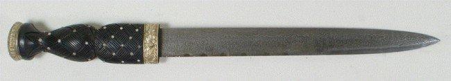 110M: Vintage Scottish Dirk dagger, Damascus blade, UK  - 3