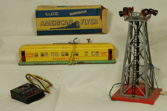 13: (3) American Flyer accessories including floodlight
