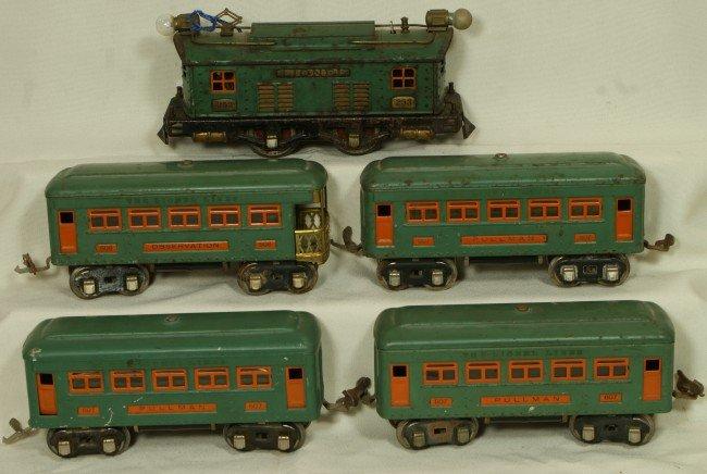 21: Lionel passenger car set, #253 engine, 3 #607, 1 #6