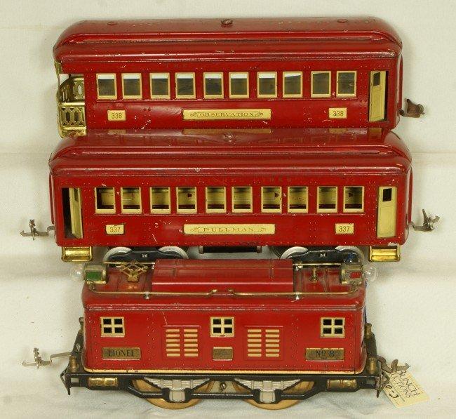 80: (3) Lionel standard gauge cars, #8 engine, #337 pul