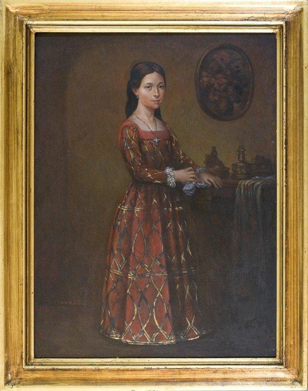 "12: G H Zerterro, o/c, Portrait of a Girl, 31 1/2"" x 23"