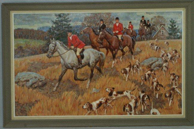 8: Richard Baldwin, American, PA, b 1920, o/c, Hunt Sce