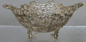 "800 Continental Silver Pierced Handled Bowl, 5 1/2"""