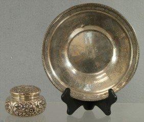 """Gorham Repousse Sterling Silver Dresser Jar, 4"""" D,"""