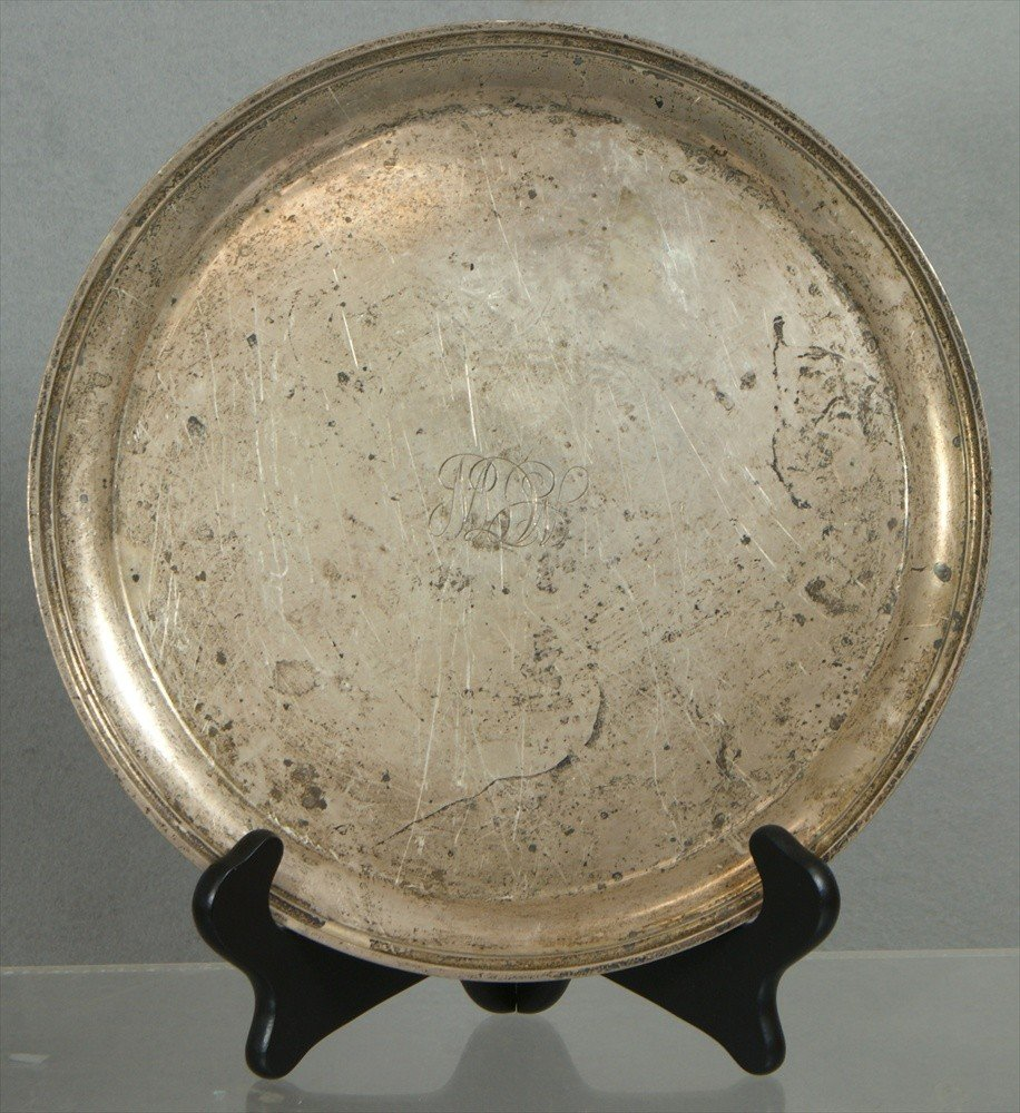 "71: S Kirk & Son sterling silver round tray, 11"",  23.4"