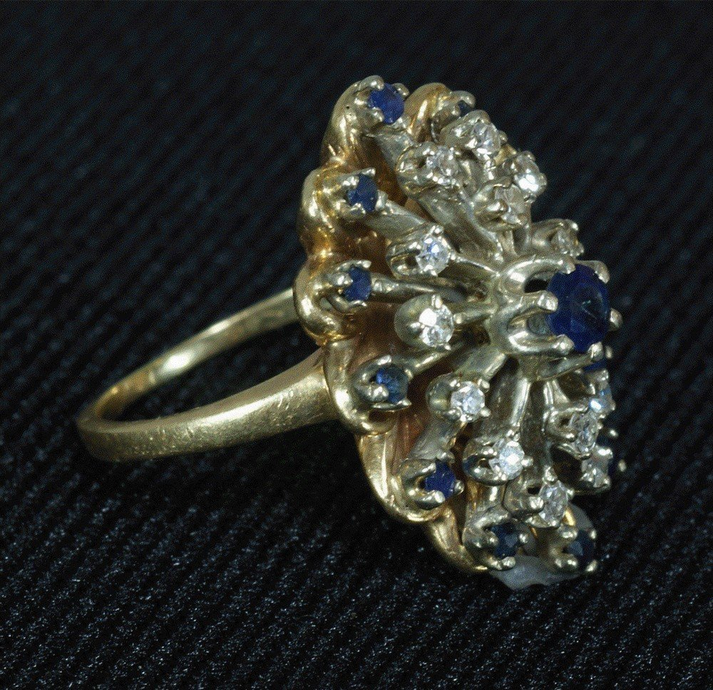 78: 14K YG diamond and sapphire cocktail ring, size 4,