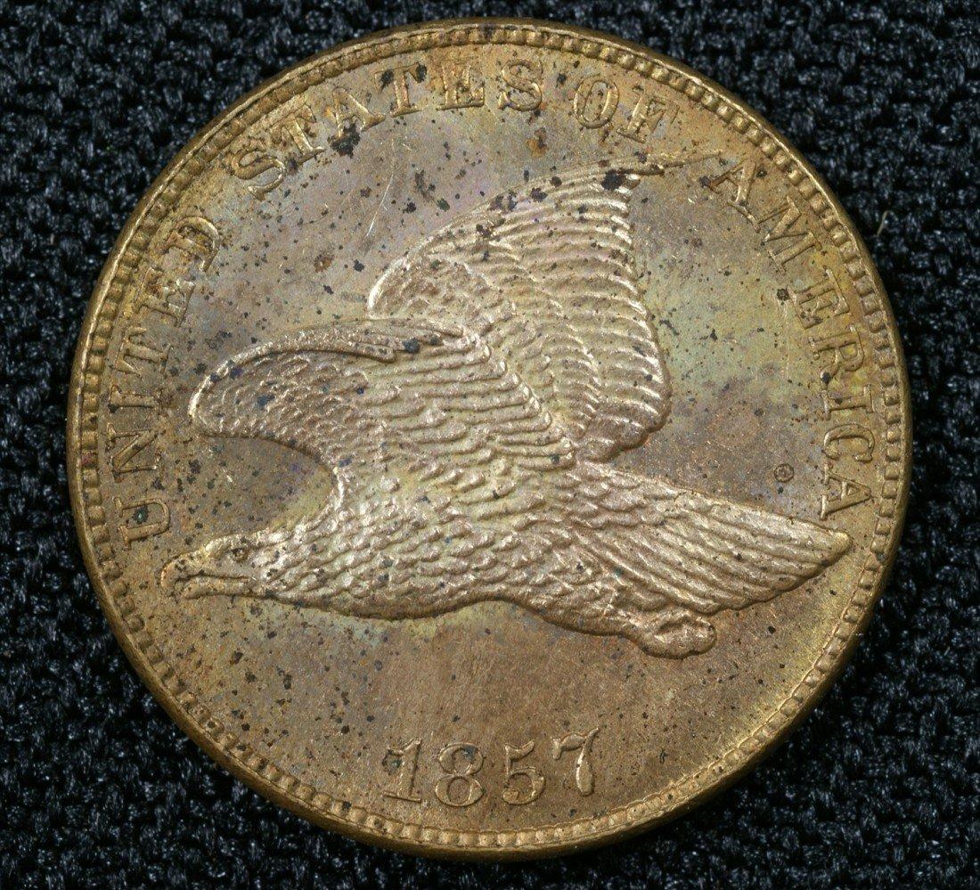 1: 1867 flying eagle cent spotty MS60 tiny field mark s