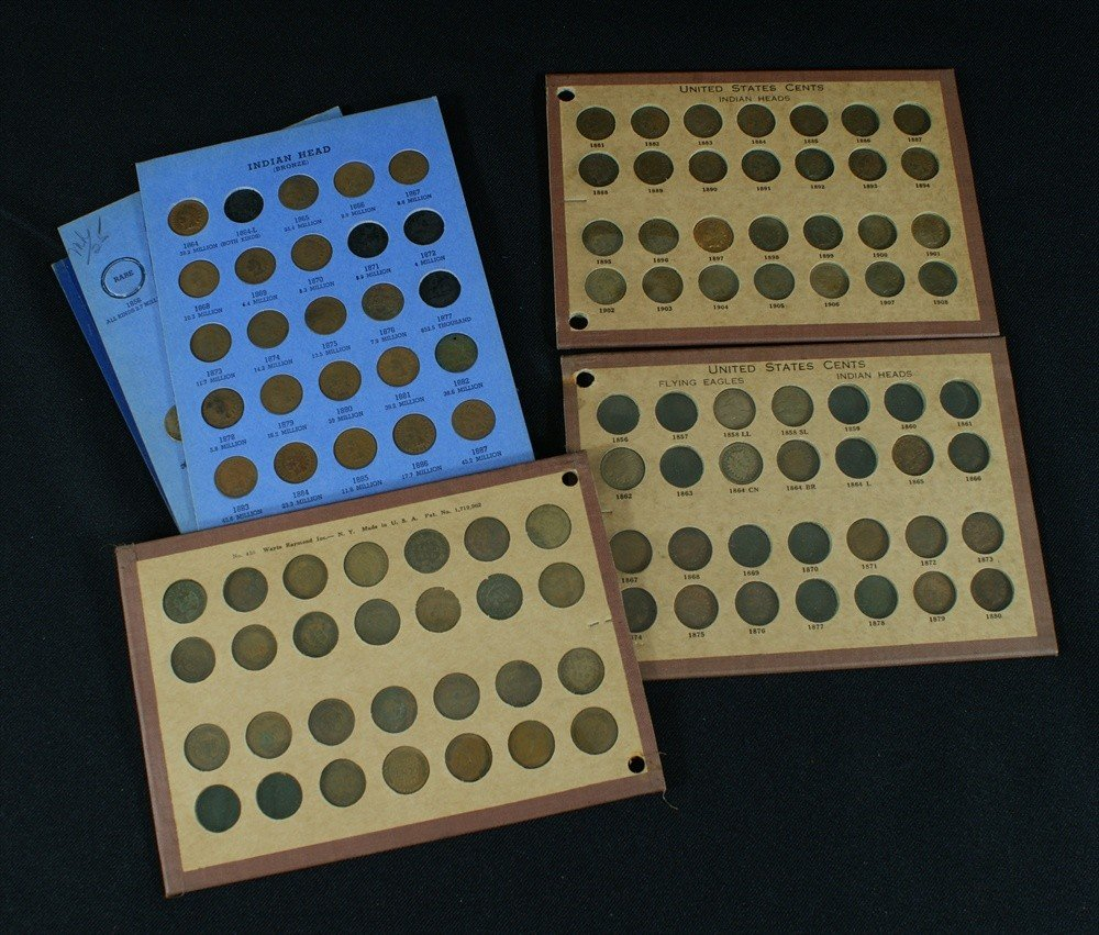 14: About 110 assorted Indian cents with duplication on
