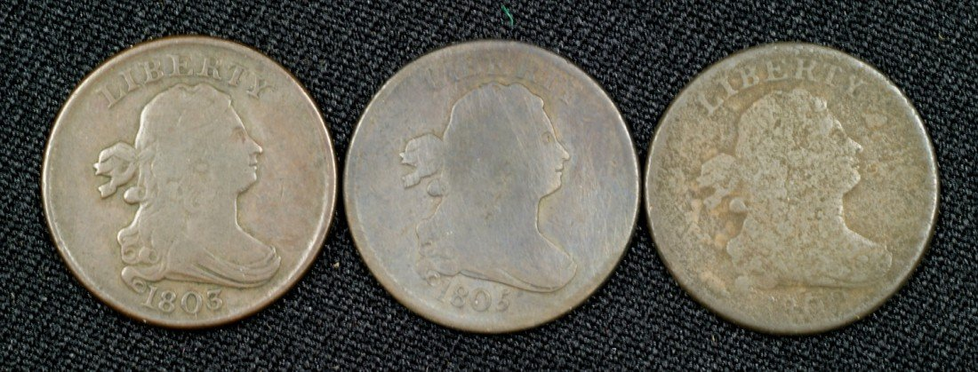 21: Three half cents: 1800 (AG), 1803 (VG) and 1805 ste