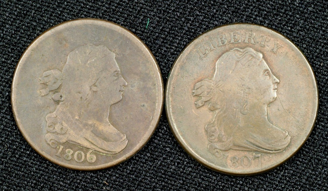 22: 1806 half cent with stems and an 1807 half cent bot