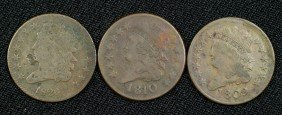 Three Half Cents: 1809 (F), 1810 (G) And An 1826 (f