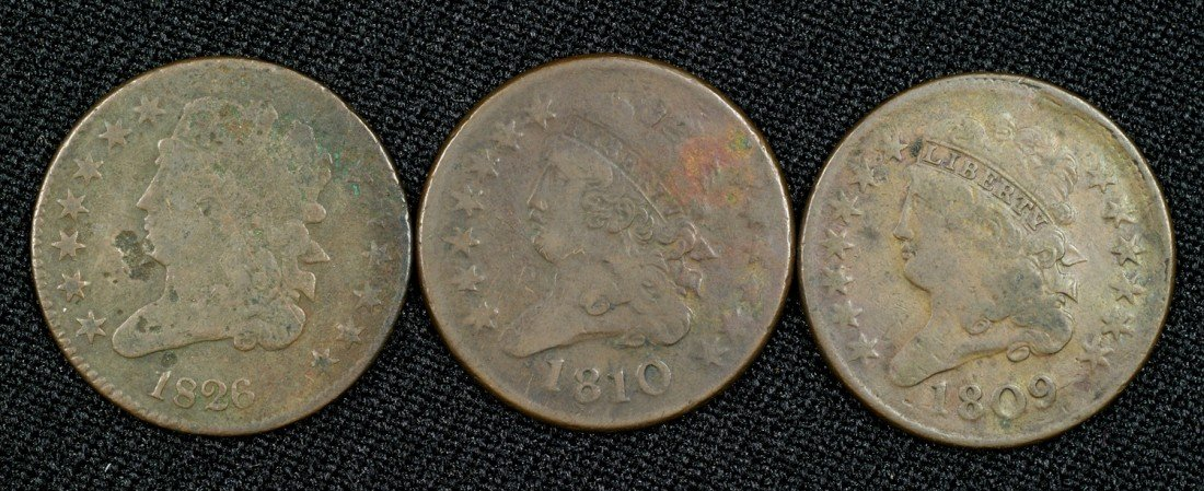 23: Three half cents: 1809 (F), 1810 (G) and an 1826 (f