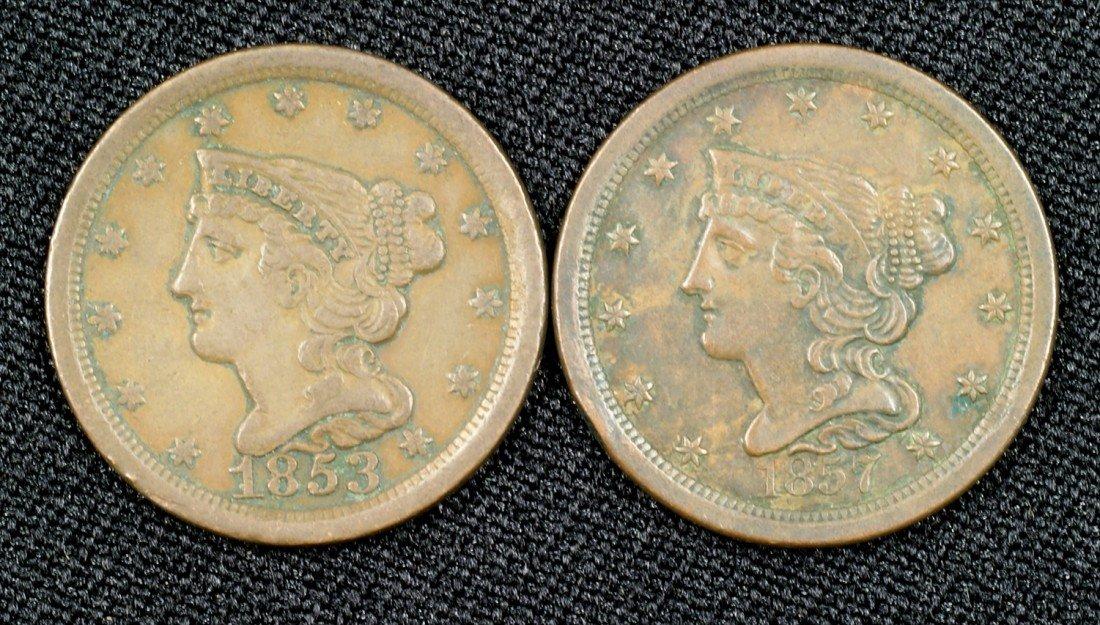 24: 1853 + 1857 half cents both VF
