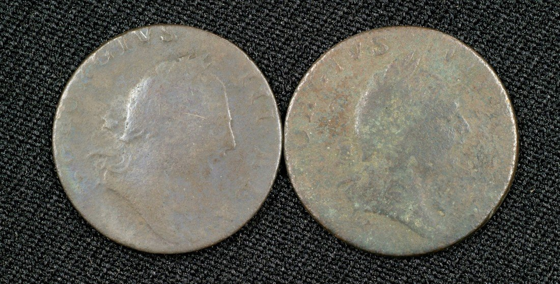 """25: Pair of virginia 1773 half pennies both """"without do"""