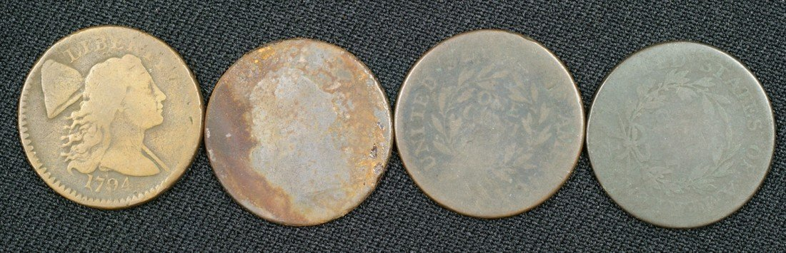 26: 4 different early large cents AG to G 1794, 1795 +