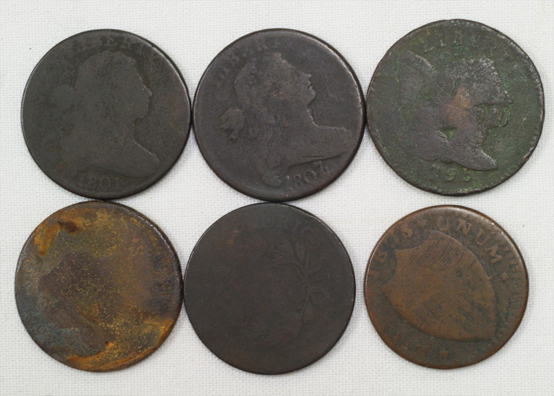 27: 6 various early large cents mostly AG unchecked for