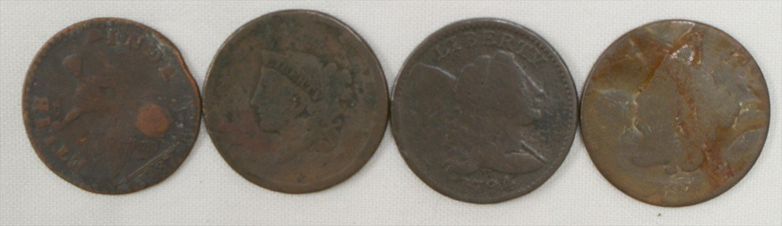 28: 4 different large cents all with issues still usefu