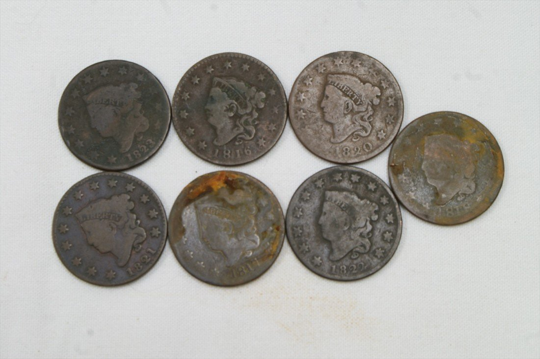 30: 7 different date large cents mostly AG to G 1816, 1