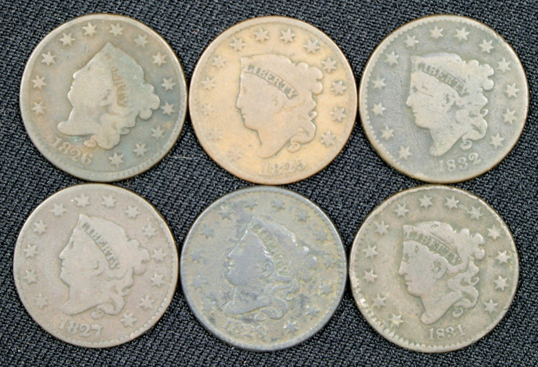 31: 6 different large cents majority G or slightly bett