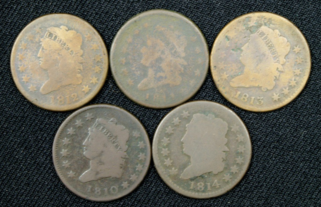 32: 5 different large cents majority G 1810, 1811, 1812