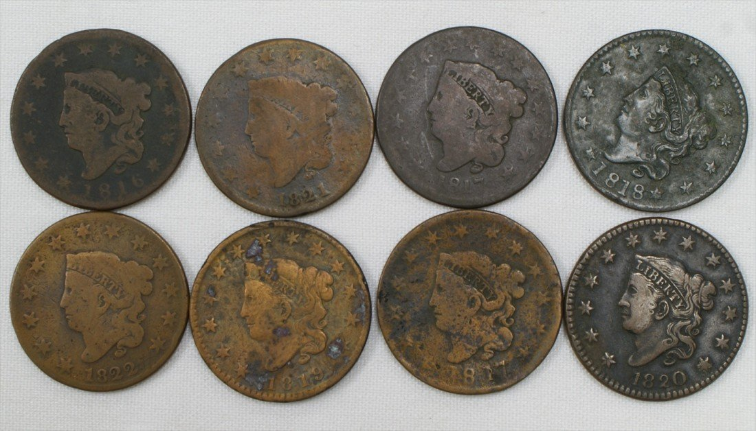 33:  8 large cents mostly AG to G 1816, 1817 (both type