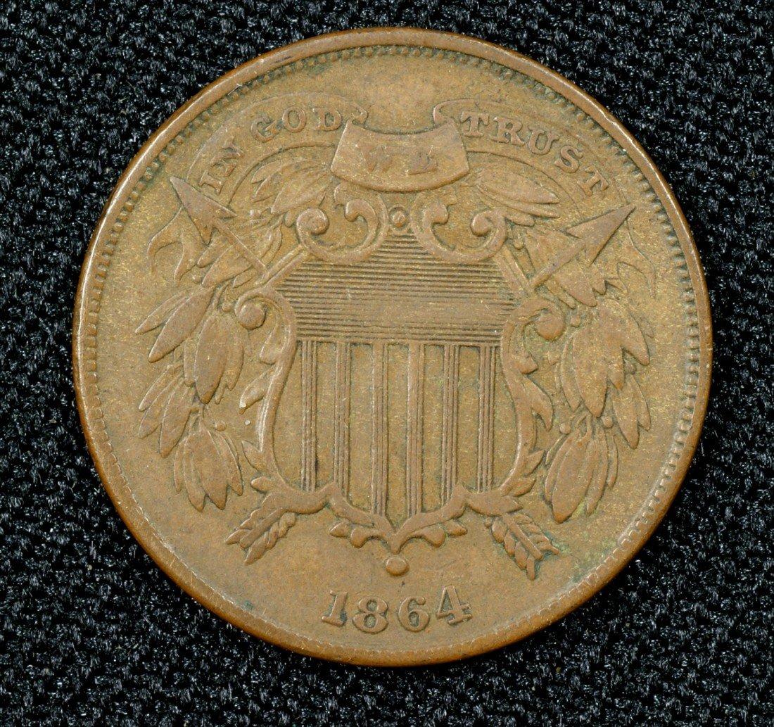 35: 1864 small motto 2 cent piece F