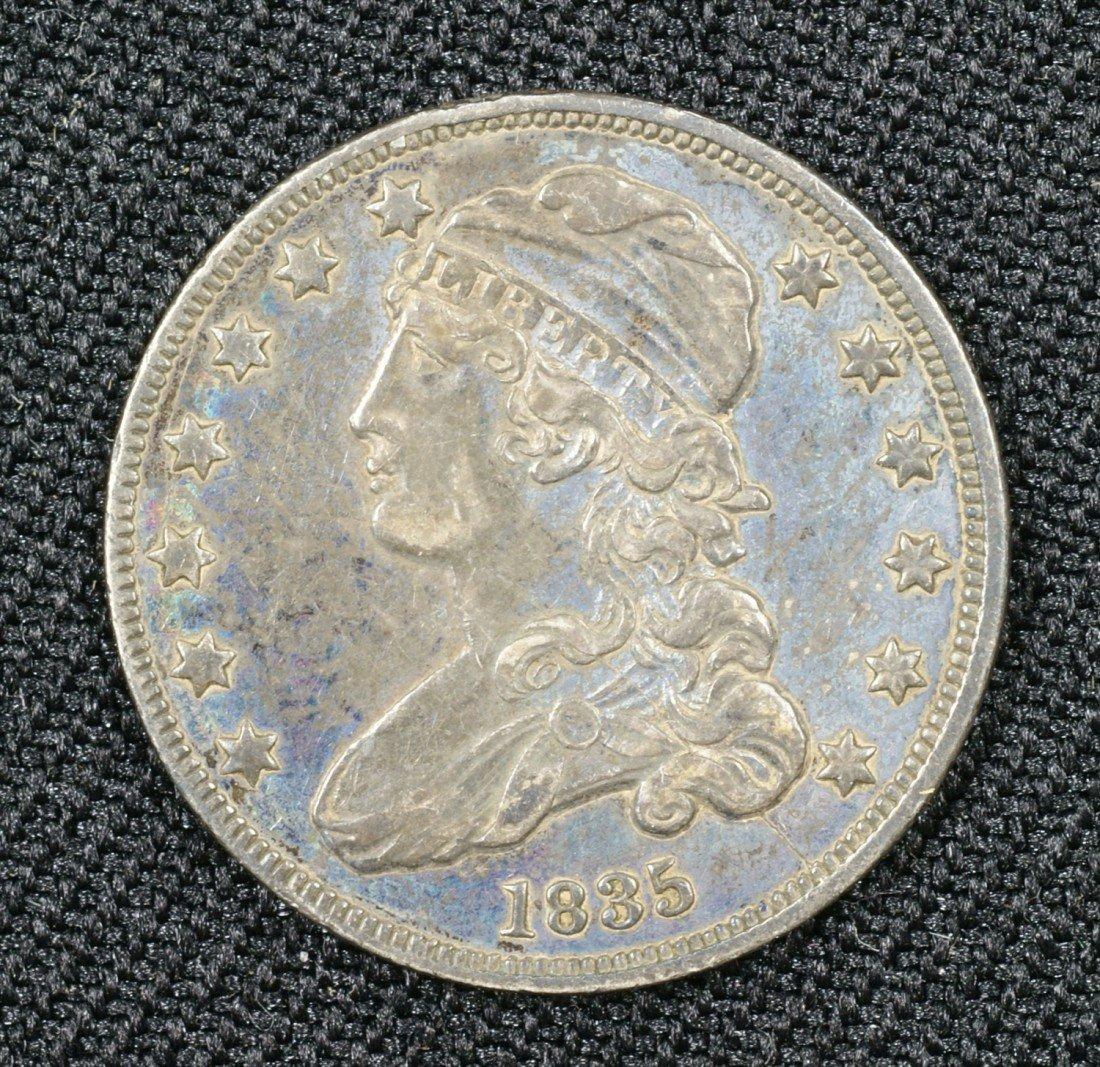 38: 1835 bust quarter VF nice dark original surfaces