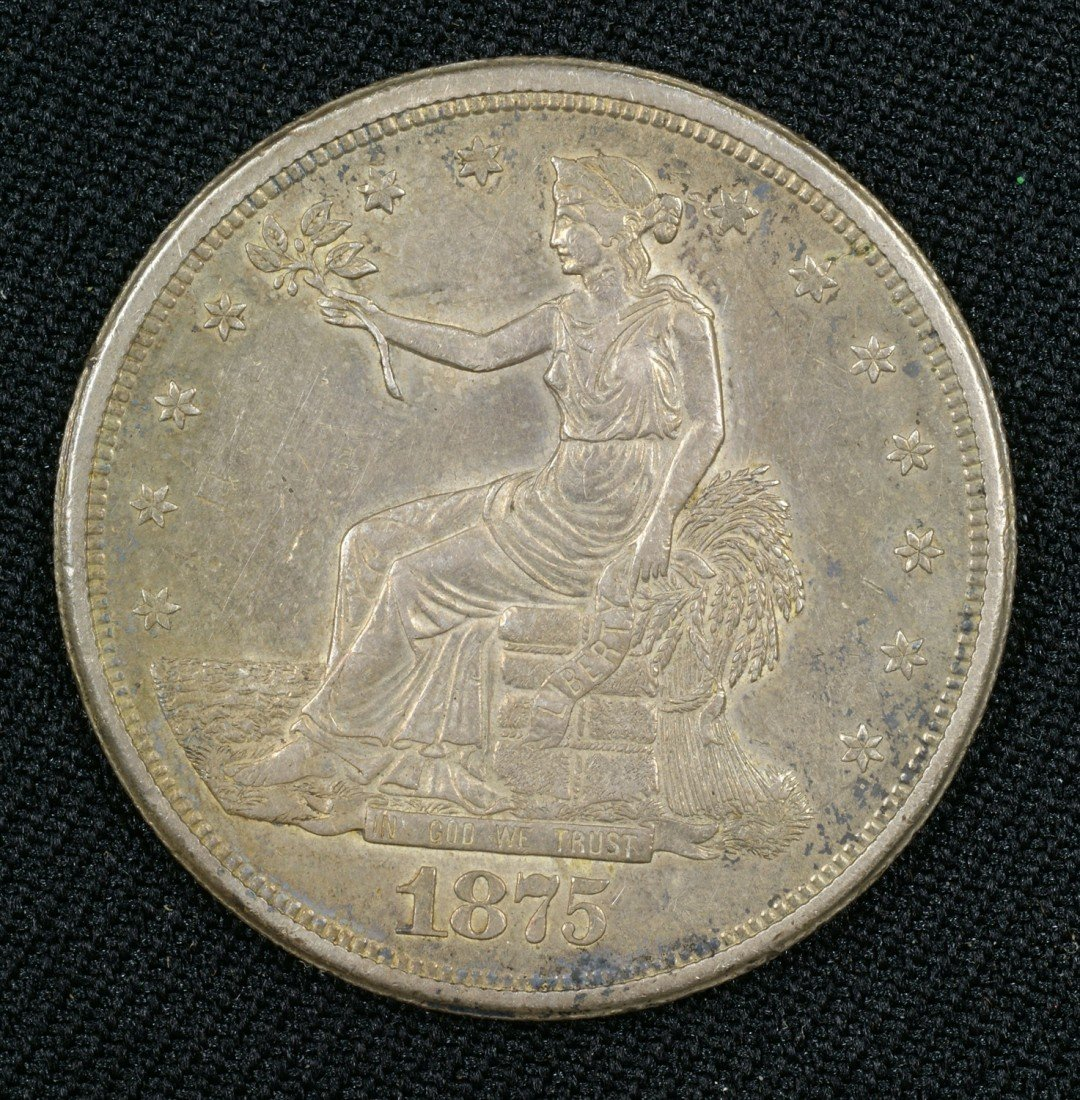 40: 1875S trade dollar EF nice original surfaces with n