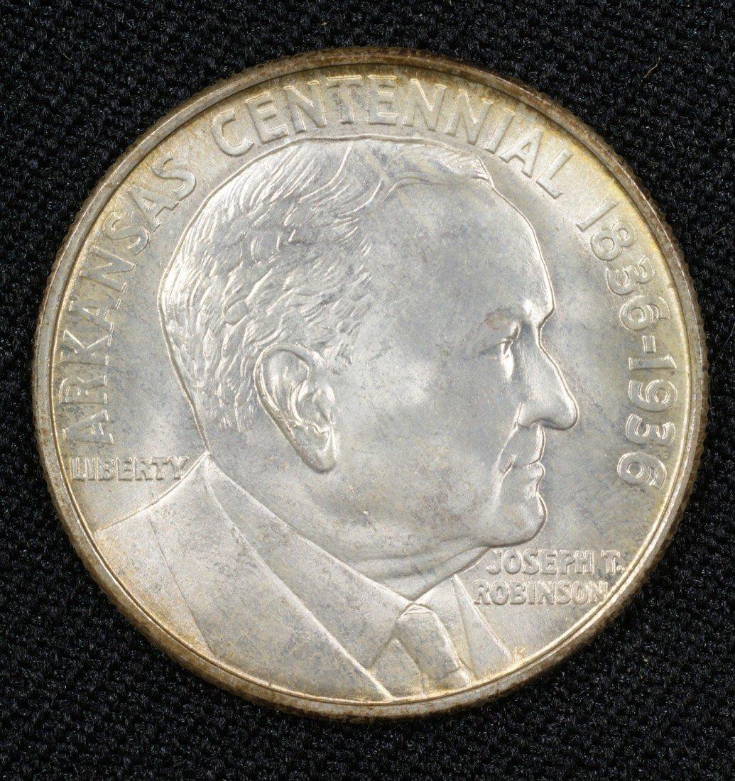 43: 1936 Arkansas commemorative half nicely toned MS63