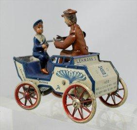 """215: Lehmann's Marke Toy Tin Wind Up Car, #495, 4-1/4"""""""