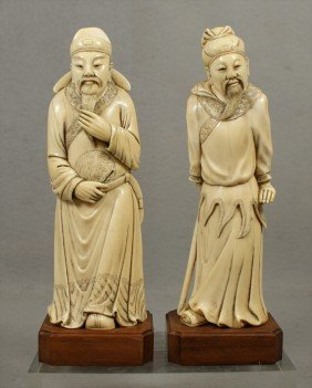 374: Pair of Chinese Ivory Figures, 19th C, One is a sc