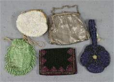 83 4 Small Beaded Change Purses and 1 beaded wallet W