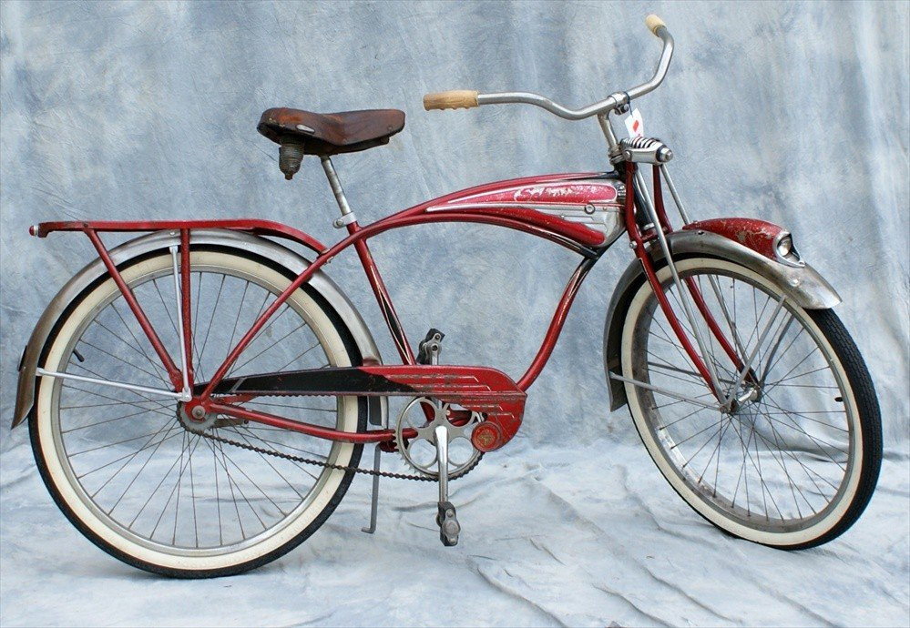 133: Schwinn Red Phantom Bicycle, 1958, One fixed gear