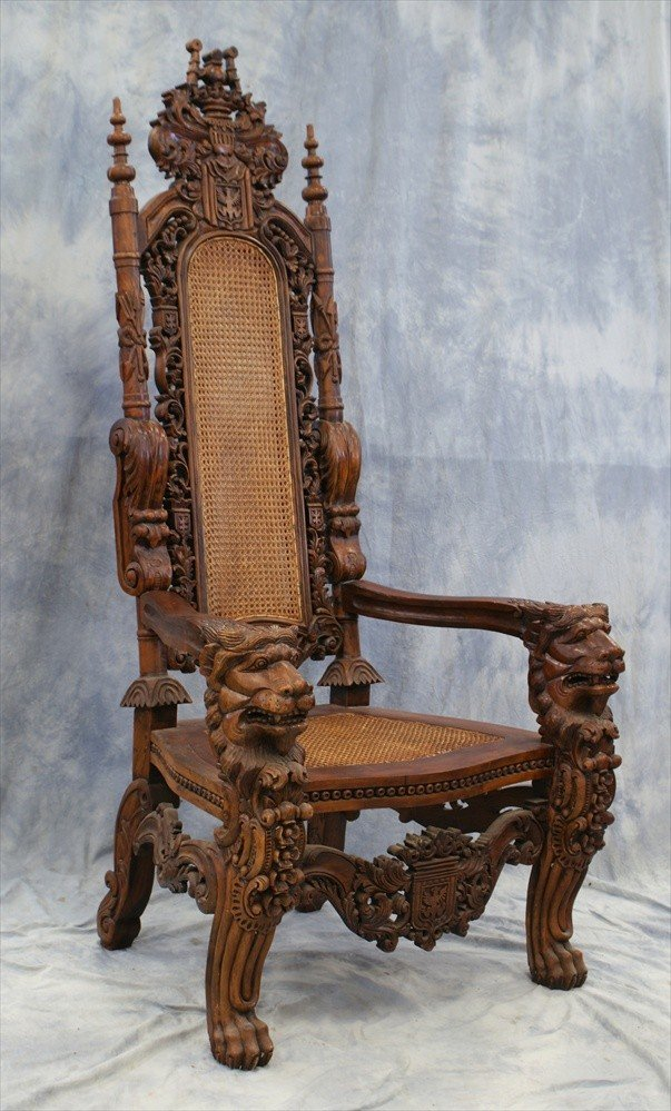 187: 2 Ornately Carved Medieval Style Chairs, late 20th