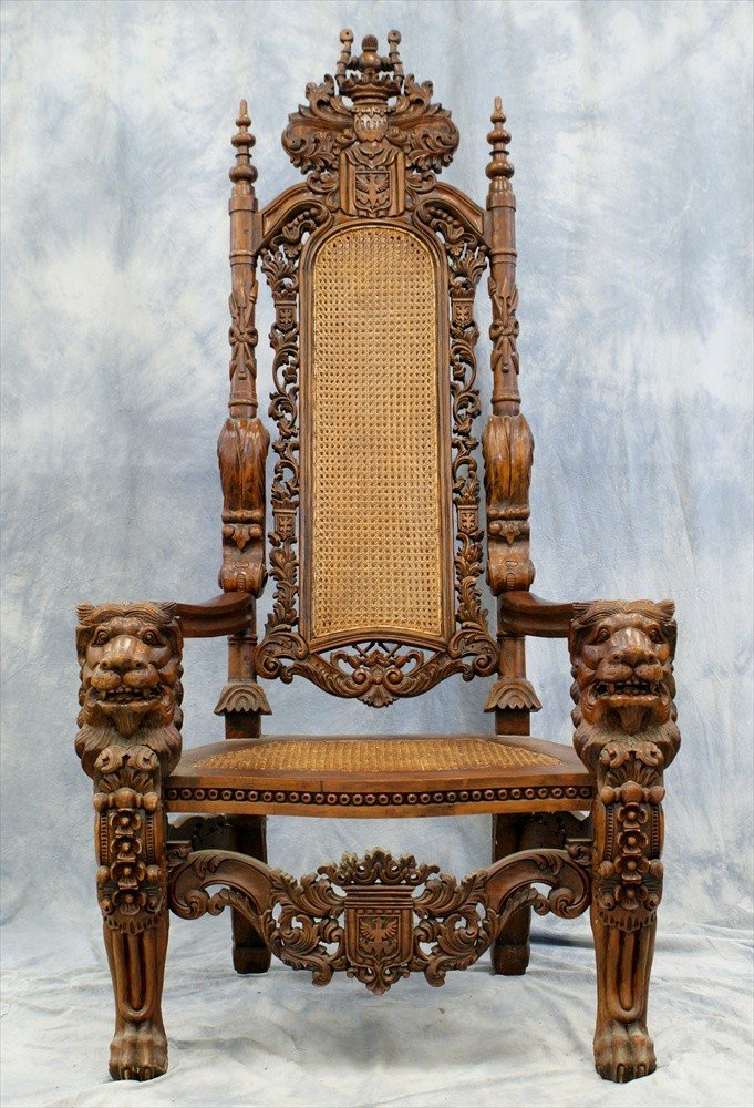 187: 2 Ornately Carved Medieval Style Chairs, late 20th - 2