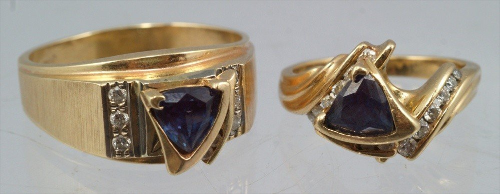 46: 14K YG and alexandrite man's and woman's ring set,