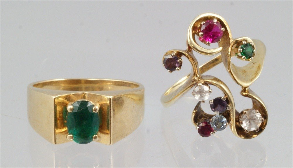 53: (2) 14K YG ladies rings with colored stones, (1) em