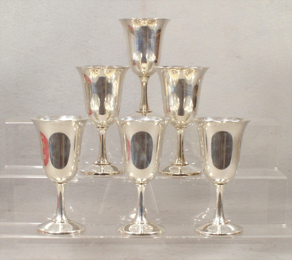 55: 6 Wallace Sterling Silver Wine Goblets, no monogram