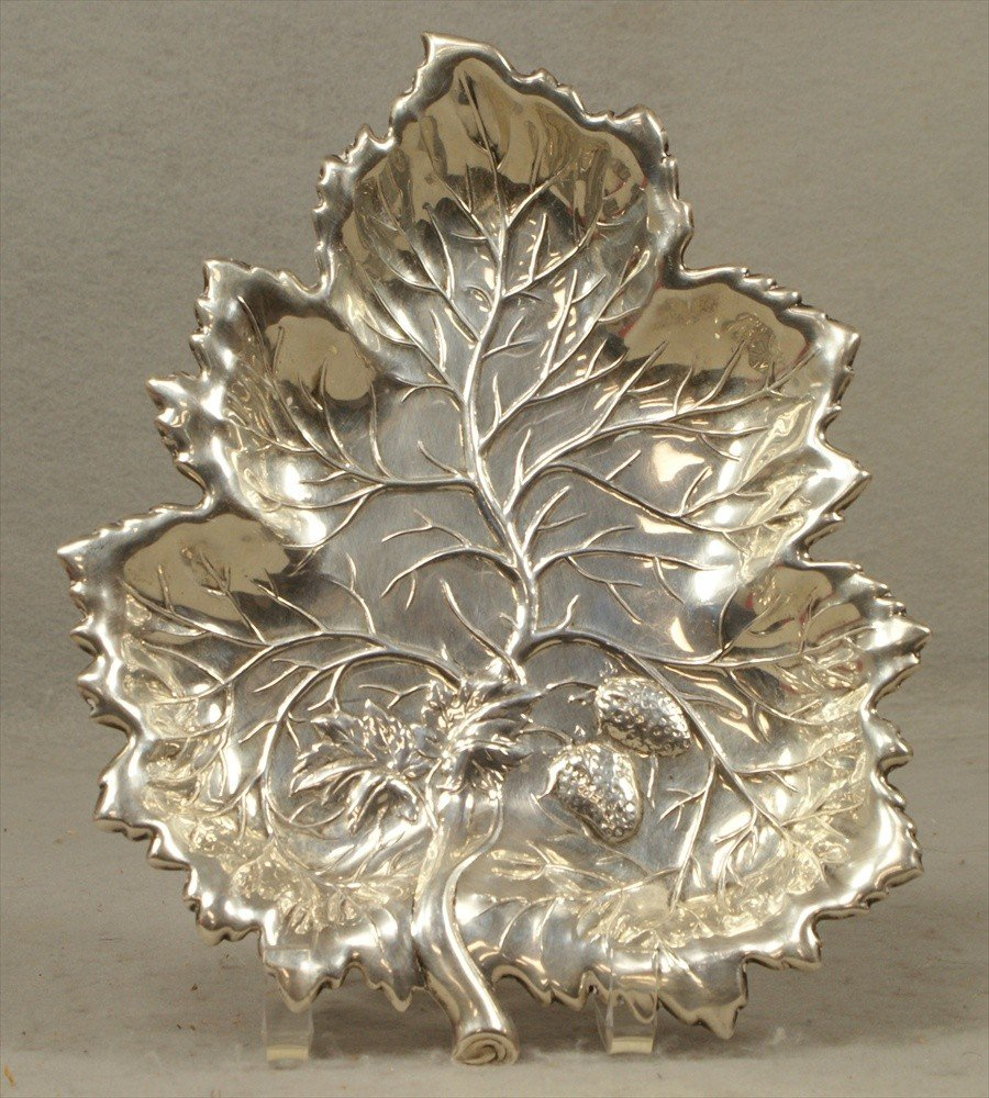 "56: Sterling Silver Strawberry Dish, 8-1/2"" x 6-1/2"", 1"