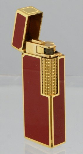 12: 18K YG plate and red enamel Cartier cigarette light