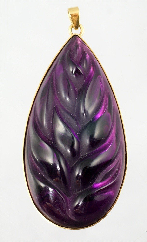 13: Lalique Heliconia Crystal Pin Brooch Pendant, 1994,