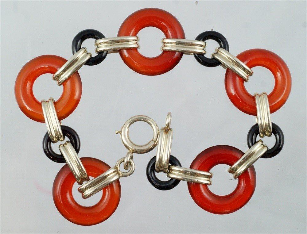 """17: 14K WG, carnelian & onyx link bracelet, 7 1/4"""" long"""