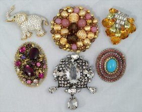 18A: 6 signed multicolored costume pins, Scaasi, Mark I