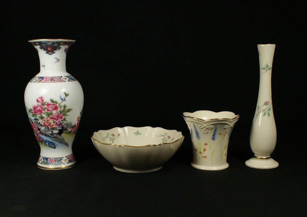 118G: (4) Lenox pieces, Rose Manor budvase & bowl, The