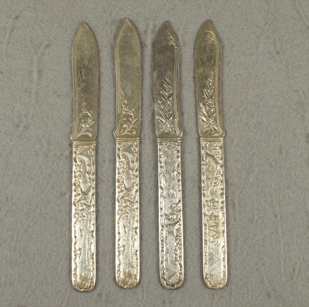 94: 4 Gorham sterling silver fruit knives, handles with