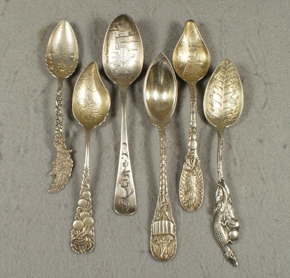 96: (6) sterling souvenir spoons, (2) Durgin, Old Point