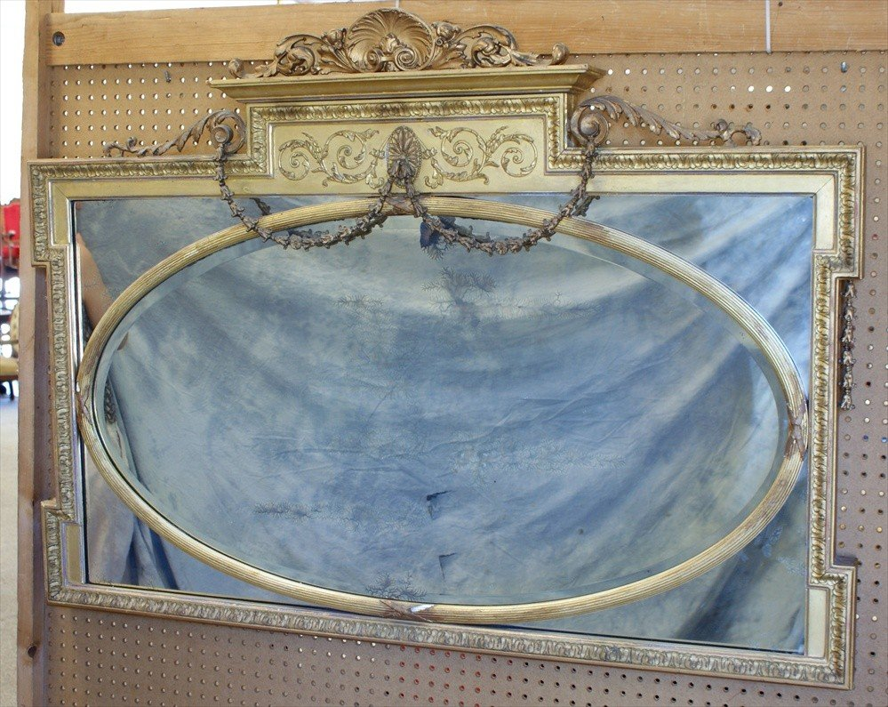"""144: French gilt wall mirror, shell and swag, 37"""" h, 52"""