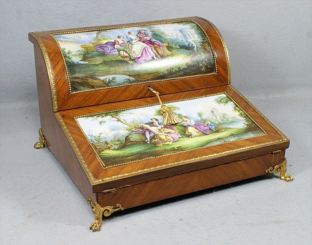 145: Mahogany French ladies writing desk with handpaint