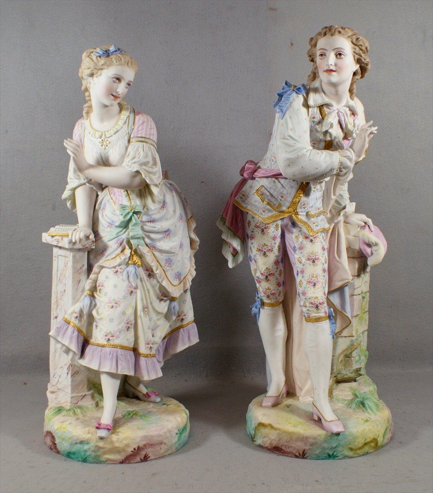 177: Pr French bisque porcelain figures, each marked wi